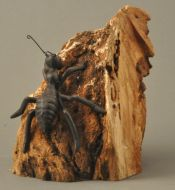 Metal ant on cherry burl