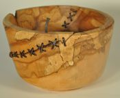 stitched, nailed spalted maple vessel